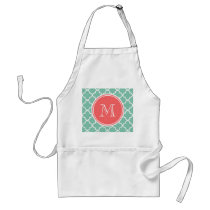 Mint Green Quatrefoil Pattern, Coral Monogram Adult Apron