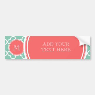 Mint Green Quatrefoil Pattern, Coral Monogram Bumper Sticker