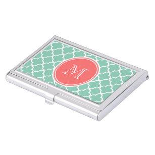Mint Green Quatrefoil Pattern, Coral Monogram Business Card Holder