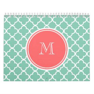 Mint Green Quatrefoil Pattern, Coral Monogram Wall Calendars