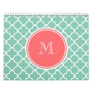 Mint Green Quatrefoil Pattern, Coral Monogram Calendar