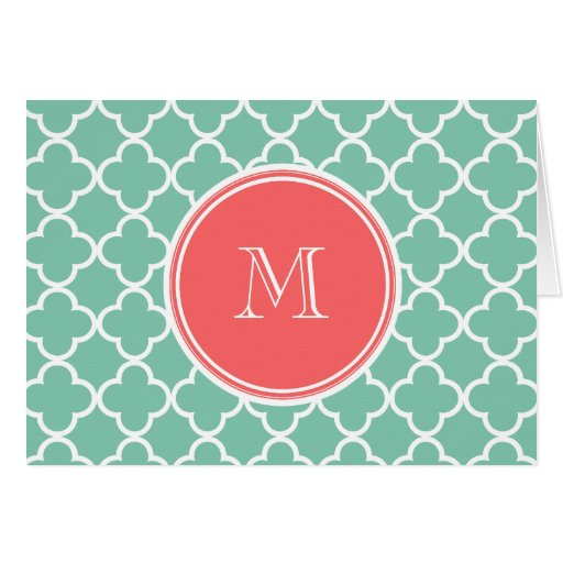Mint Green Quatrefoil Pattern, Coral Monogram Stationery Note Card