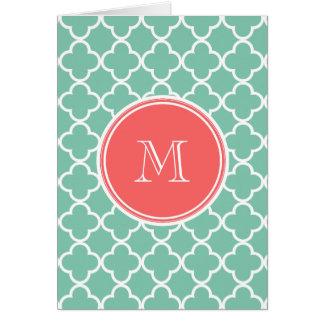 Mint Green Quatrefoil Pattern, Coral Monogram Card