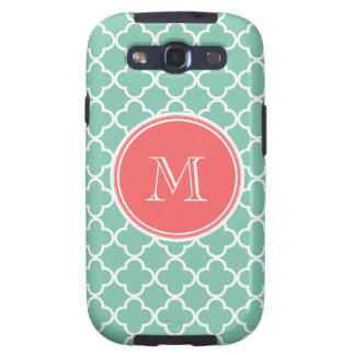 Mint Green Quatrefoil Pattern, Coral Monogram Samsung Galaxy S3 Covers