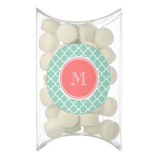 Mint Green Quatrefoil Pattern, Coral Monogram Chewing Gum Favors