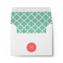 Mint Green Quatrefoil Pattern, Coral Monogram Envelope