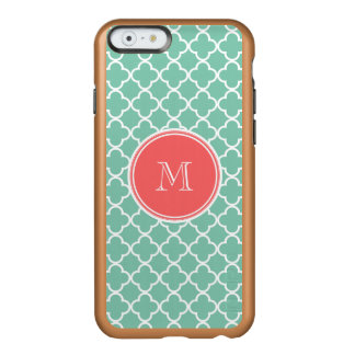 Mint Green Quatrefoil Pattern, Coral Monogram Incipio Feather Shine iPhone 6 Case
