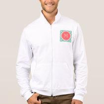 Mint Green Quatrefoil Pattern, Coral Monogram Jacket