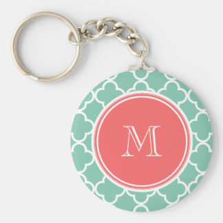 Mint Green Quatrefoil Pattern, Coral Monogram Keychains