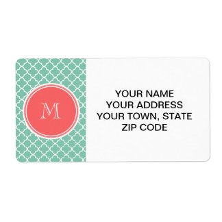 Mint Green Quatrefoil Pattern, Coral Monogram Shipping Labels
