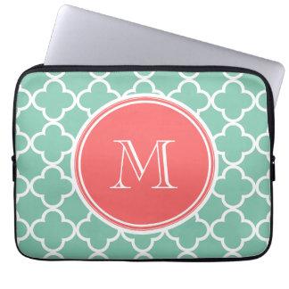 Mint Green Quatrefoil Pattern, Coral Monogram Laptop Computer Sleeves