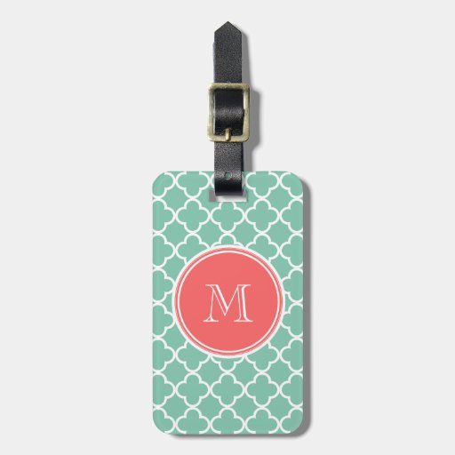 Mint Green Quatrefoil Pattern, Coral Monogram Travel Bag Tag