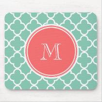 Mint Green Quatrefoil Pattern, Coral Monogram Mouse Pad