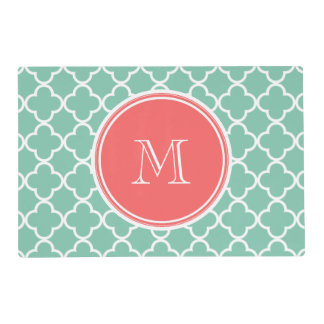 Mint Green Quatrefoil Pattern, Coral Monogram Laminated Placemat