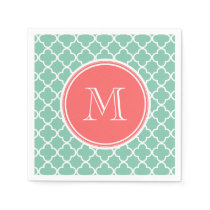 Mint Green Quatrefoil Pattern, Coral Monogram Paper Napkin