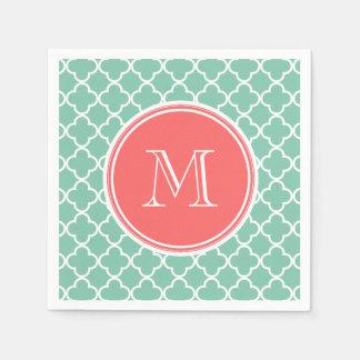 Mint Green Quatrefoil Pattern, Coral Monogram Disposable Napkin