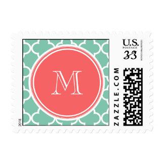 Mint Green Quatrefoil Pattern Coral Monogram Stamps