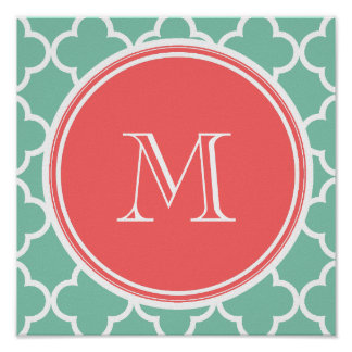 Mint Green Quatrefoil Pattern, Coral Monogram Poster