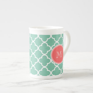 Mint Green Quatrefoil Pattern, Coral Monogram Porcelain Mug