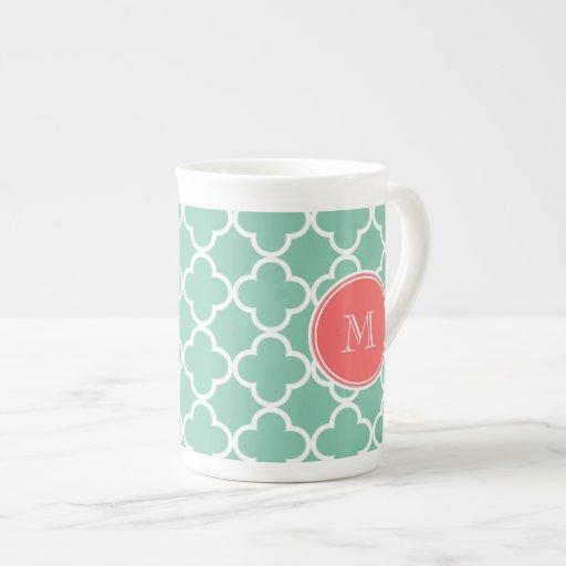 Mint Green Quatrefoil Pattern, Coral Monogram Tea Cup