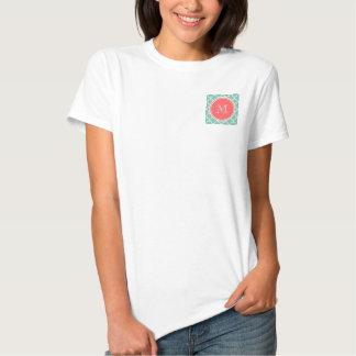 Mint Green Quatrefoil Pattern, Coral Monogram T-Shirt