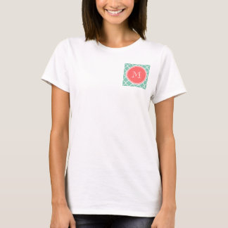 Mint Green Quatrefoil Pattern, Coral Monogram T-Shirt