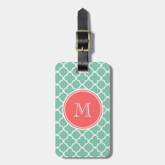 Mint Green Quatrefoil Pattern, Coral Monogram Tag For Luggage