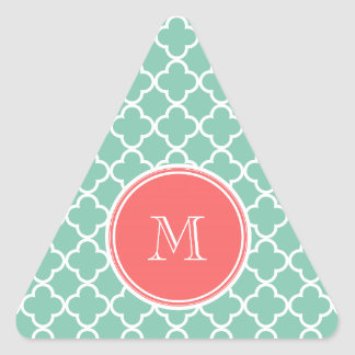 Mint Green Quatrefoil Pattern, Coral Monogram Triangle Sticker