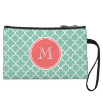 Mint Green Quatrefoil Pattern, Coral Monogram Wristlet