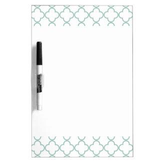 Mint Green Quatrefoil Pattern Dry Erase Board