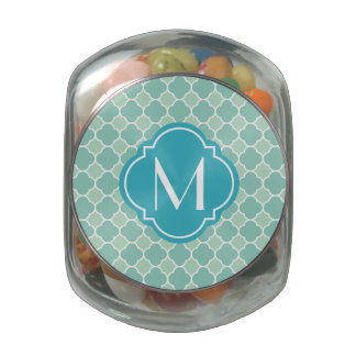 Mint Green Quatrefoil Pattern with Monogram Jelly Belly Candy Jars