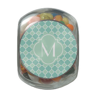 Mint Green Quatrefoil Pattern with Monogram Jelly Belly Candy Jar