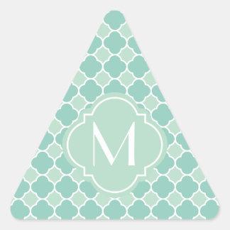 Mint Green Quatrefoil Pattern with Monogram Triangle Sticker