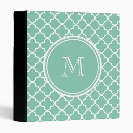 Mint Green Quatrefoil Pattern, Your Monogram Binder