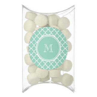 Mint Green Quatrefoil Pattern, Your Monogram Chewing Gum Favors