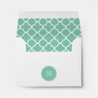 Mint Green Quatrefoil Pattern, Your Monogram Envelope