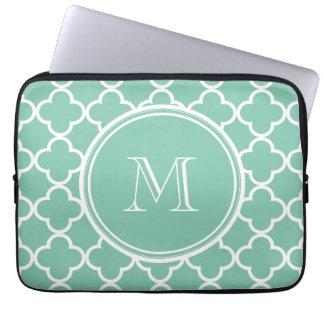 Mint Green Quatrefoil Pattern, Your Monogram Computer Sleeve