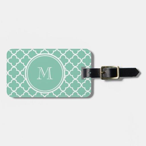 Mint Green Quatrefoil Pattern, Your Monogram Travel Bag Tag