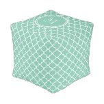 Mint Green Quatrefoil Pattern, Your Monogram Cube Pouf