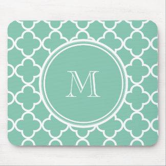 Mint Green Quatrefoil Pattern, Your Monogram Mouse Pad