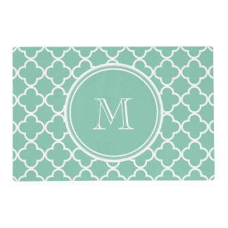 Mint Green Quatrefoil Pattern, Your Monogram Laminated Placemat