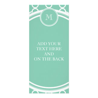 Mint Green Quatrefoil Pattern, Your Monogram Rack Card
