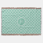 Mint Green Quatrefoil Pattern, Your Monogram Throw