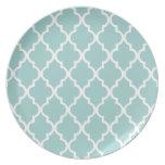 Mint Green Quatrefoil Tiles Pattern Party Plate