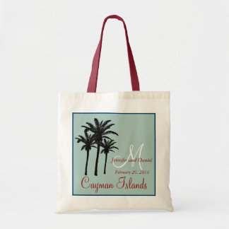 Mint Green Red Beach Wedding Palm Trees Tote Bag