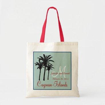 Beach Themed Mint Green Red Beach Wedding Palm Trees Tote Bag