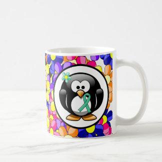 Mint Green Ribbon Penguin Coffee Mug