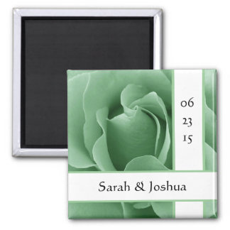 Mint Green Rose and White Save the Date Wedding 2 Inch Square Magnet