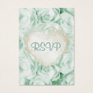 Mint Green Rose Floral Wedding RSVP Business Card