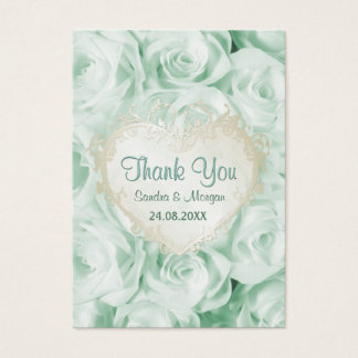 Mint Green Rose Floral Wedding Thank You Business Card